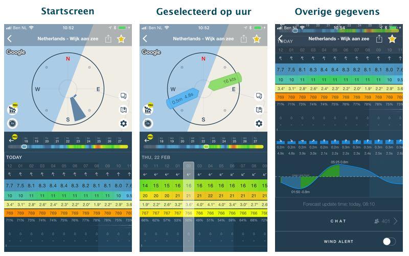 Windy app schermen