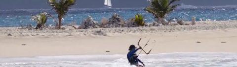 Launching foil kites van een boot