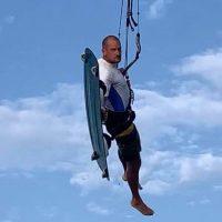 Board off kitesurfing trick
